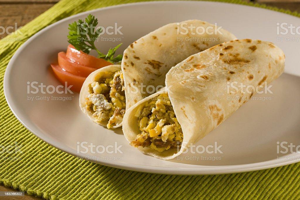 Machacado con Huevo Tacos in Flour Tortilla stock photo