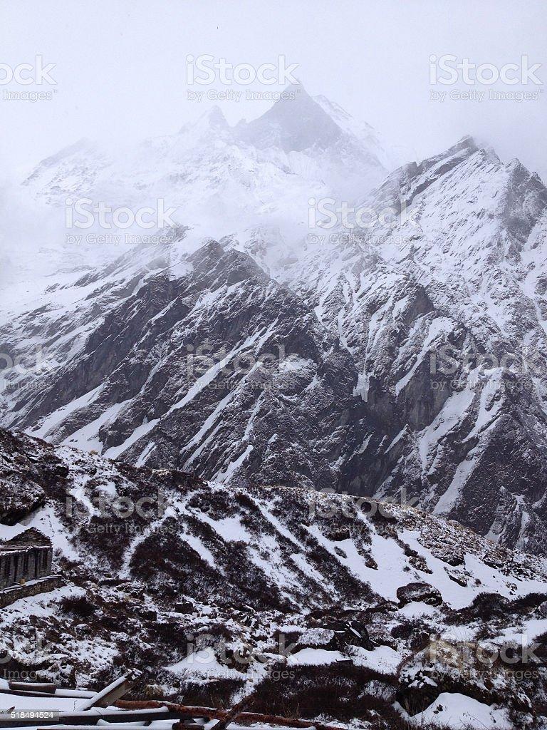 Machapuchare or Fishtail peak in Nepal stock photo