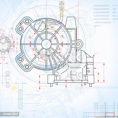 istock Machine Blueprint Outline Design Paperwork Document 154962832