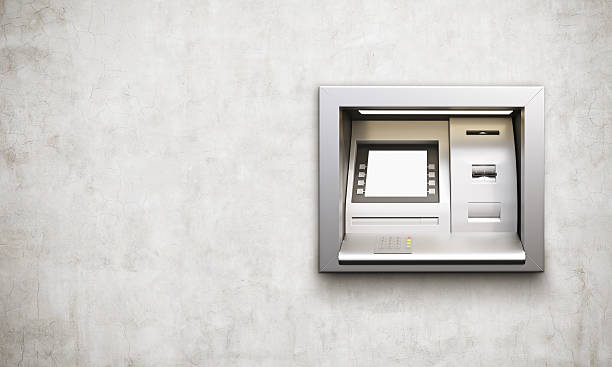 atm machine concrete background - banks and atms stock pictures, royalty-free photos & images