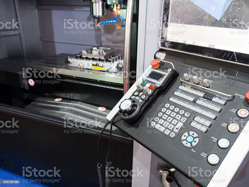 CNC Machine control panel closup stock photo