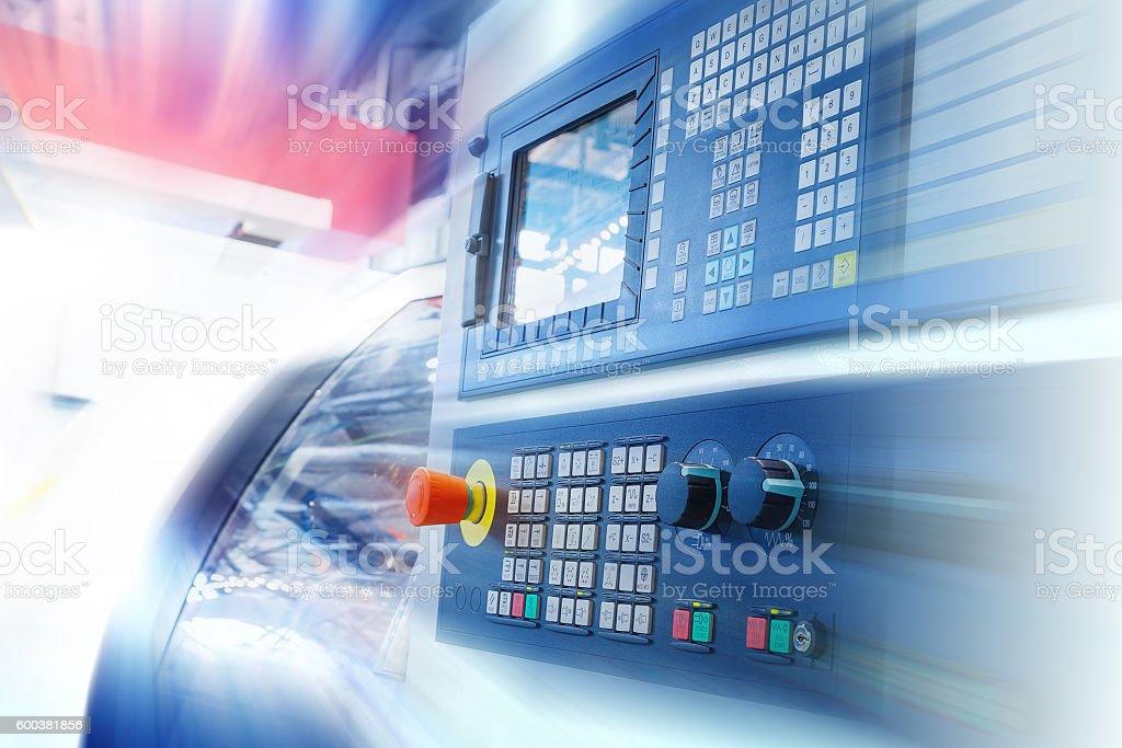 CNC machine control panel. Motion blur. stock photo