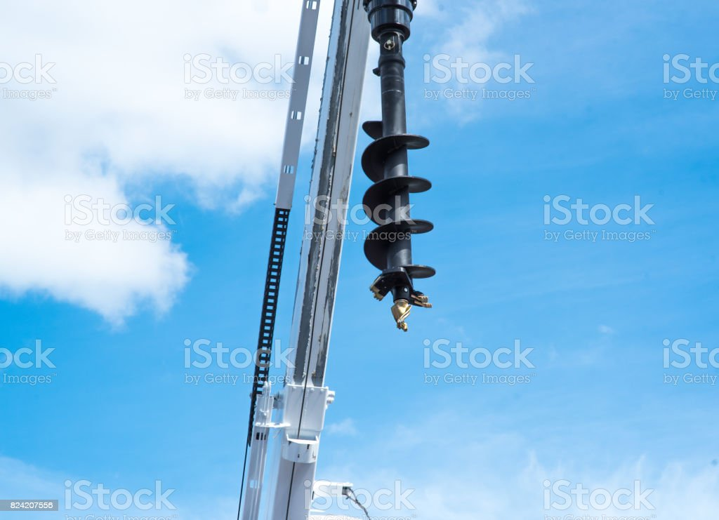 machine for drilling holes in the ground stock photo
