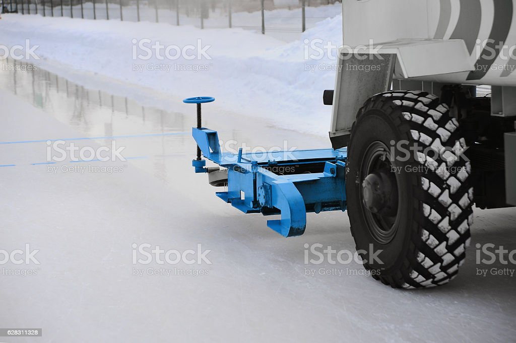 Machine for fill ice track stock photo