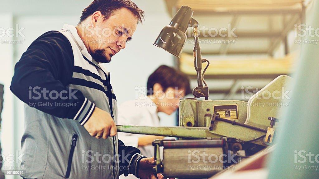 machine for hot stamping stock photo
