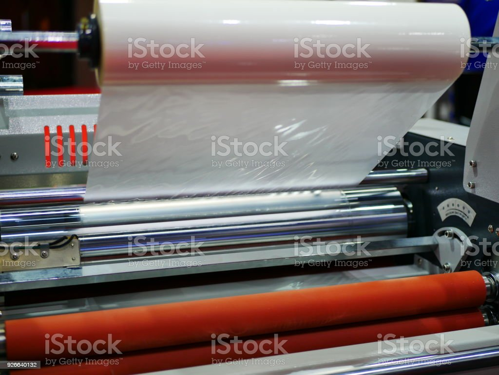 Machine for making plastic films with prints stock photo