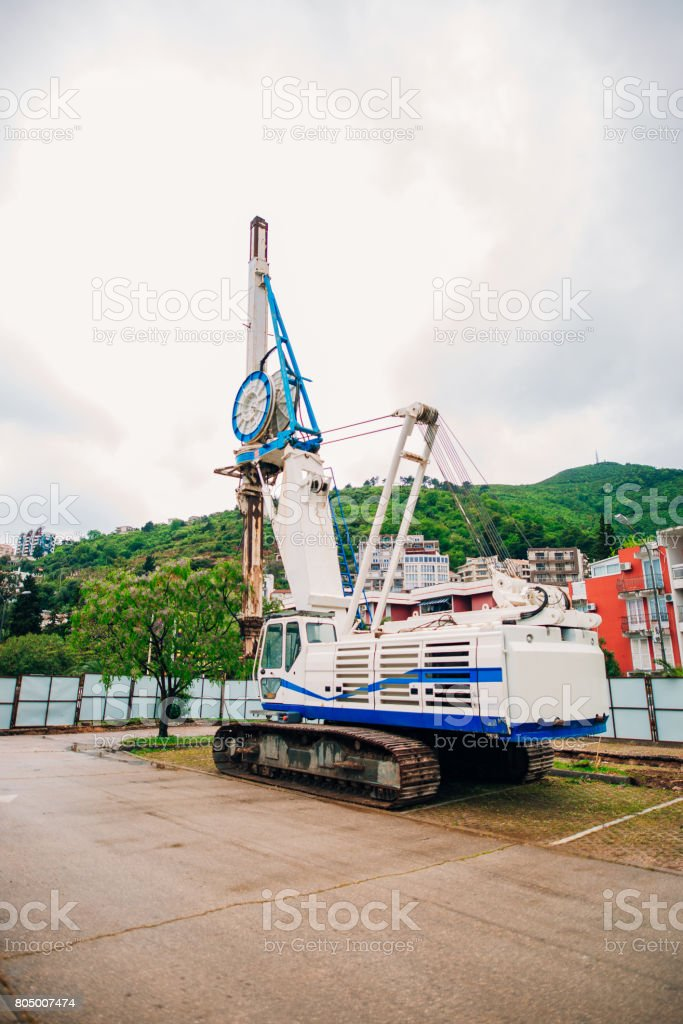 Machine for piling. Construction machinery on the site for the c stock photo