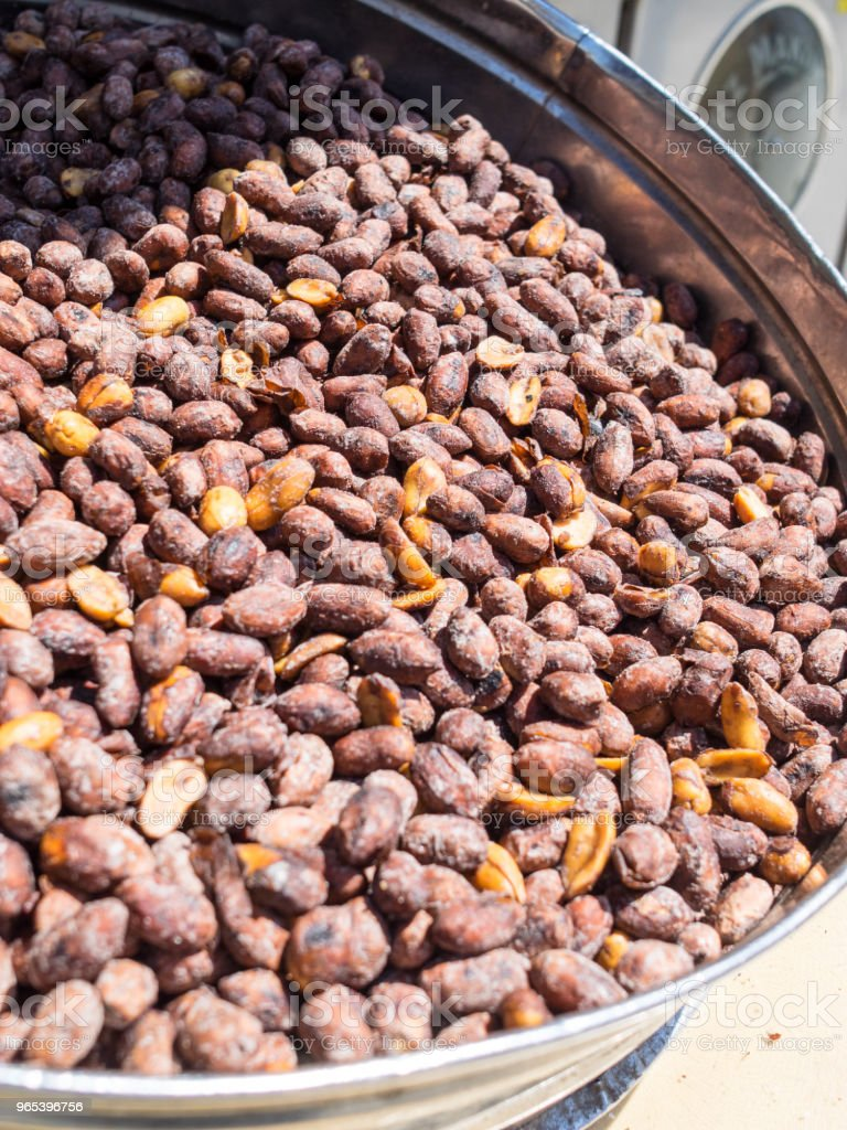Machine for roasted nuts on street markets in old cities of Turkey. royalty-free stock photo
