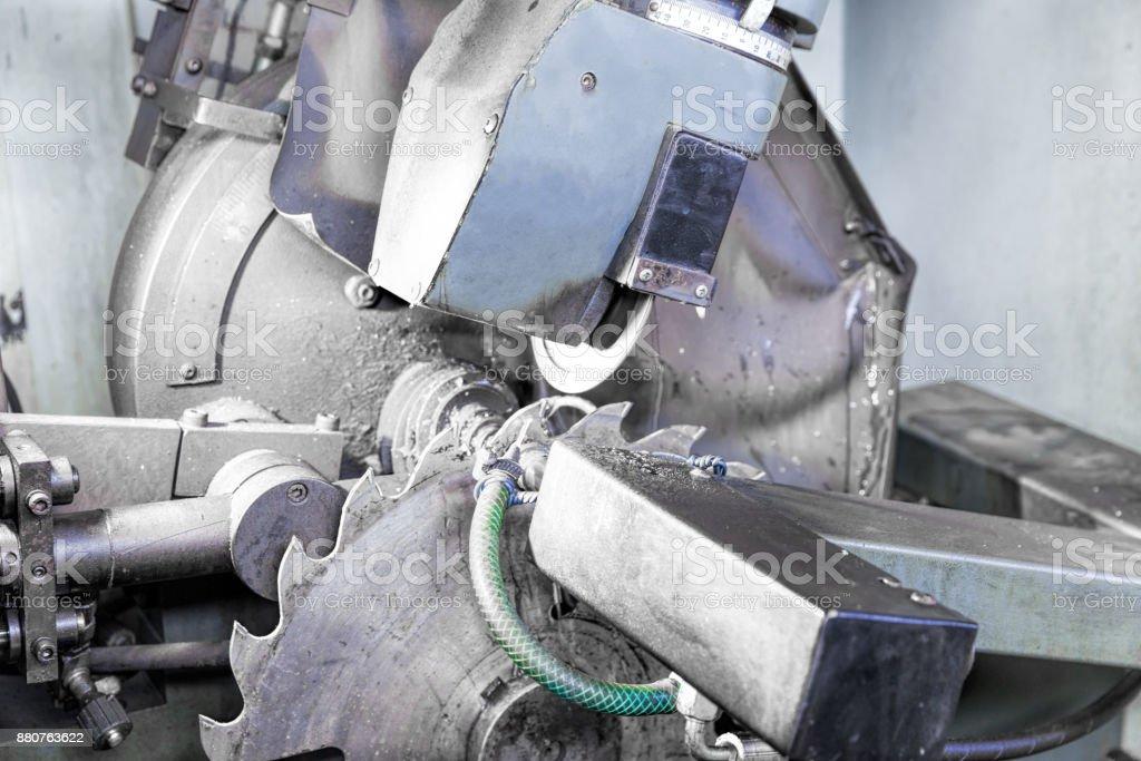 Machine for sharpening circular saw stock photo