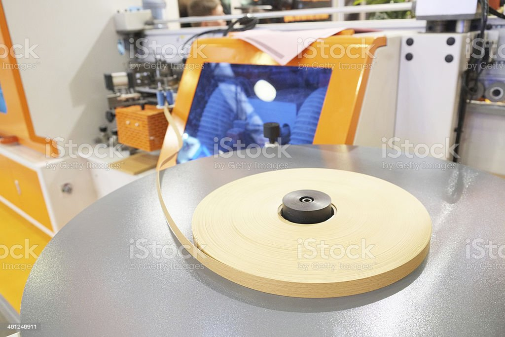 machine for sticking on adhesive tape stock photo