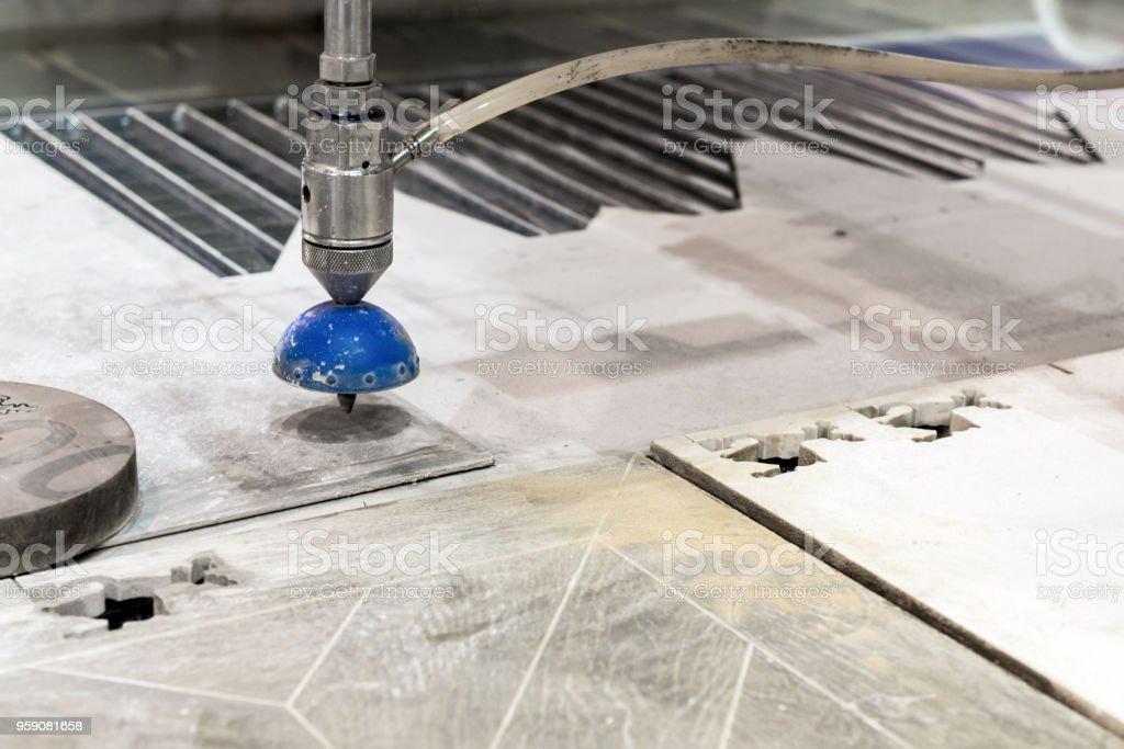 Cnc Machine For Waterjet Cutting Sheet Metal Stock Photo