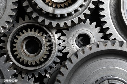 Mechanical gear combination close-up; top view