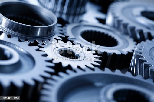 Close-up of Machine Gears blue tone ; shot with very shallow depth of field