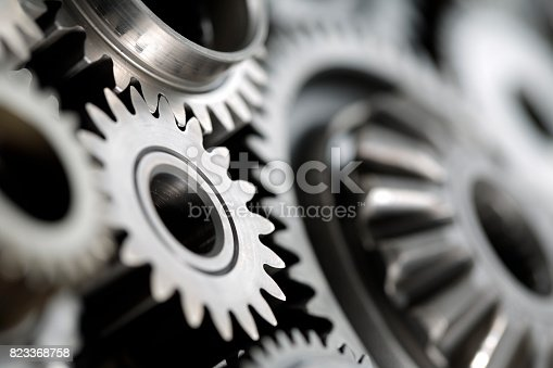 Close-up of Machine Gears ; shot with very shallow depth of field
