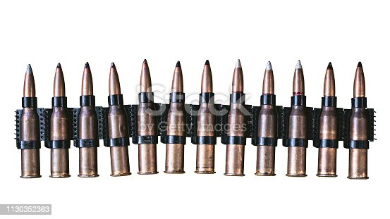 istock machine gun ammo on a white background, bullet belt, bandoleer, chain of ammo on wooden background,cartridge 7.62 mm caliber, top view, isolated on white background 1130352363