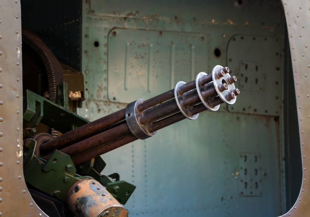 machine gun in the door helicopter six-barrel rotary machine gun in the door helicopter viet cong stock pictures, royalty-free photos & images