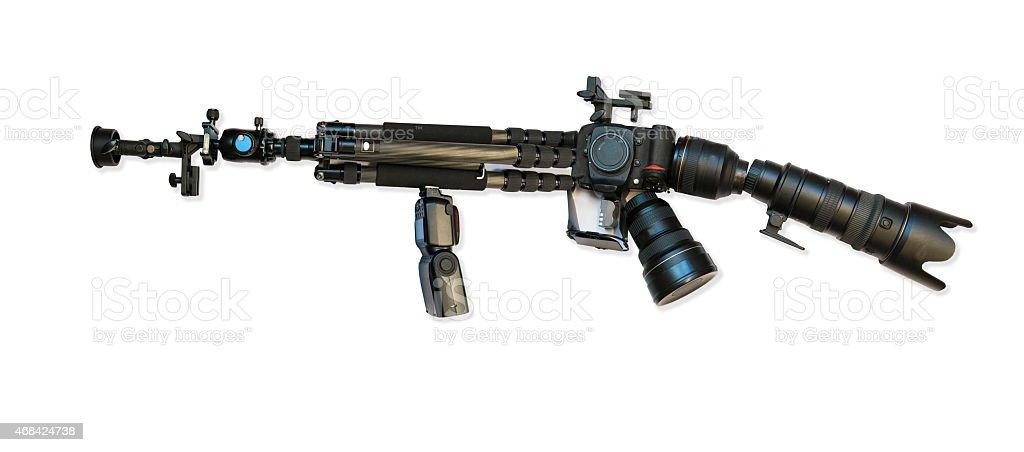 Machine gun made from photographic camera equipment stock photo