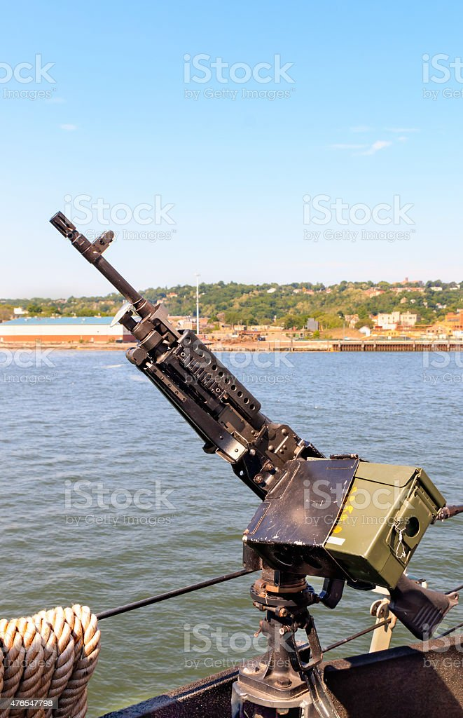 Machine Gun on Destroyer Ship stock photo
