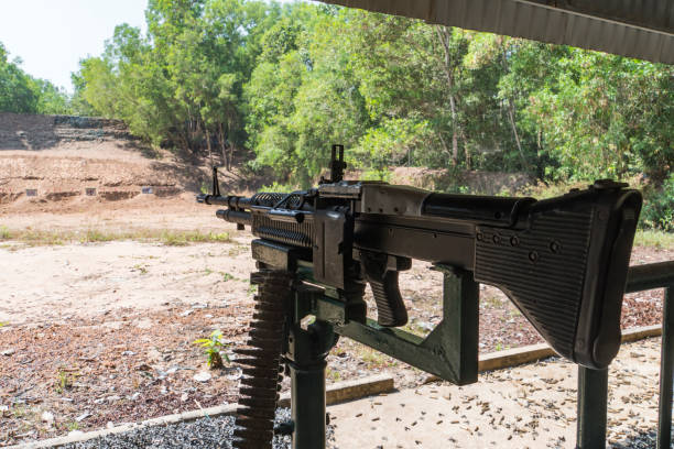 Machine gun Squad Automatic Weapon for people shooting at Cu Chi tunnels in Ho Chi Minh, Vietnam Machine gun Squad Automatic Weapon for people shooting at Cu Chi tunnels in Ho Chi Minh, Vietnam. viet cong stock pictures, royalty-free photos & images