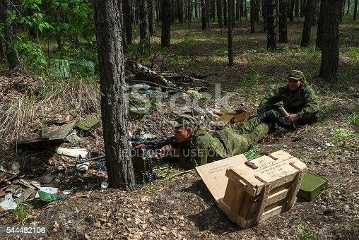 istock Machine gunners ambush in forest 544482106