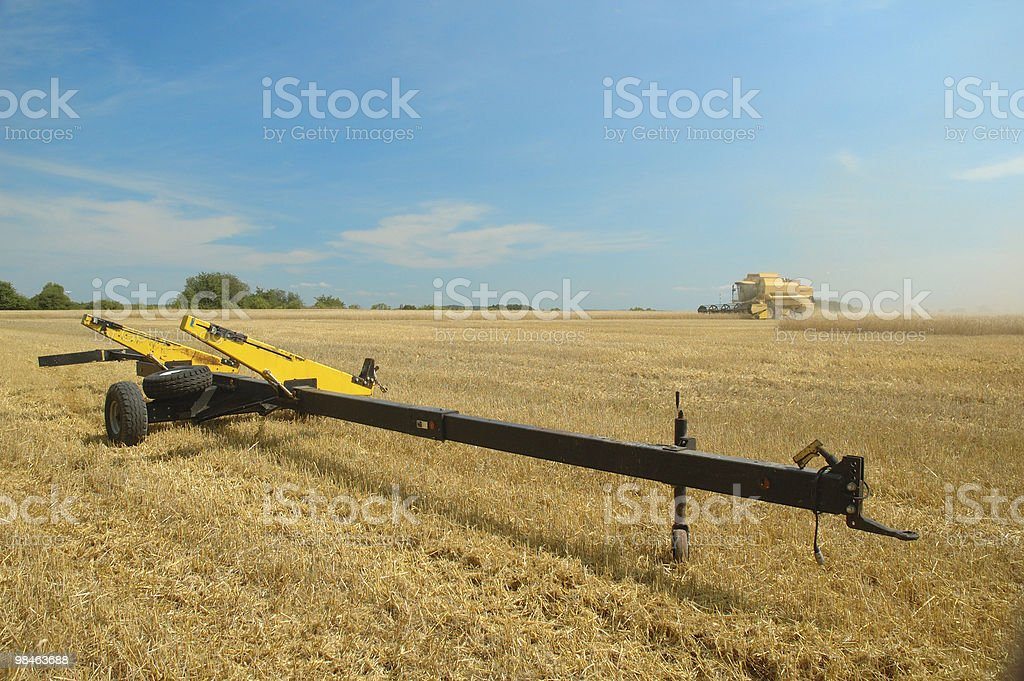 Machine harvesting the corn field royalty-free stock photo