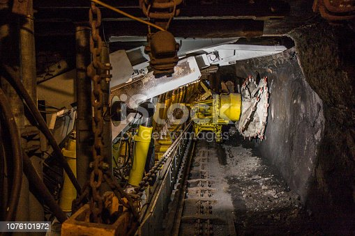 istock Machine in a coal mine. 1076101972