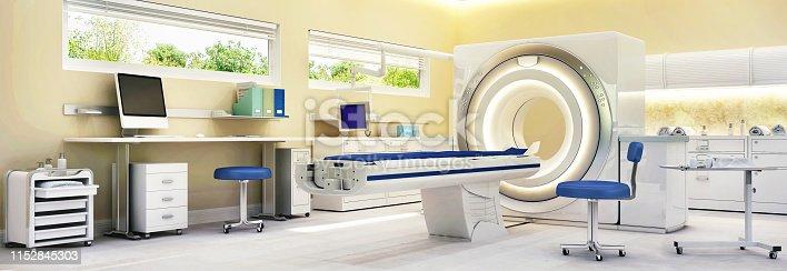 183306794 istock photo MRI Machine In Hospital Room. Hospital interior design 1152845303