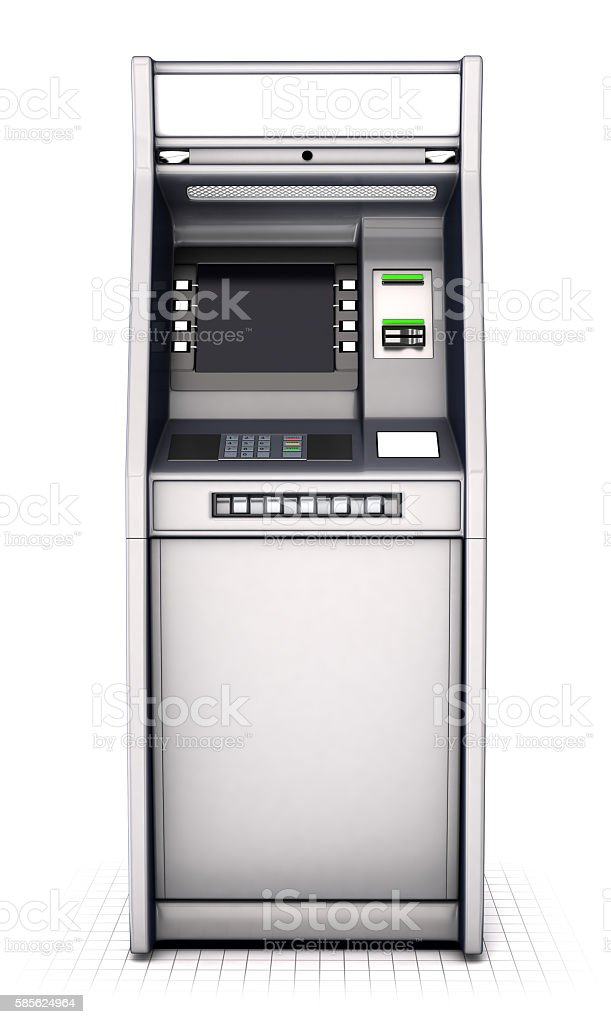 ATM machine isolated on white. Front view stock photo