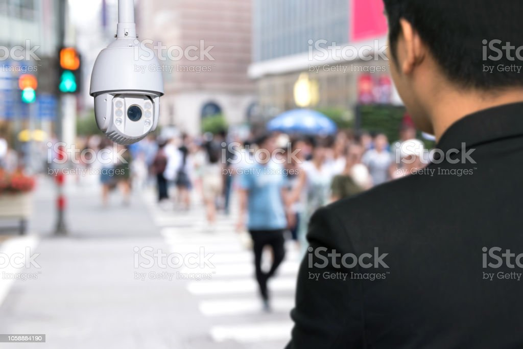 Machine Learning analytics identify person technology , Artificial intelligence ,Big data , iot concept. Cctv , security camera and face recognition people in smart city traffic. stock photo