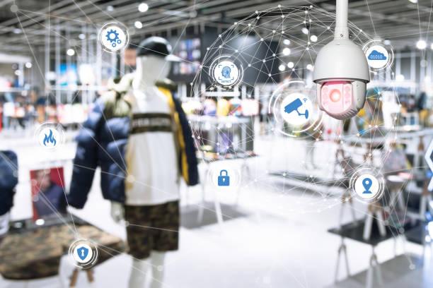 Análisis del aprendizaje de máquina identifican persona tecnología, Inteligencia Artificial, Big data, concepto de iot. CCTV, seguridad cámara y cara reconocimiento personas en la ciudad de smart tienda por menor. - foto de stock