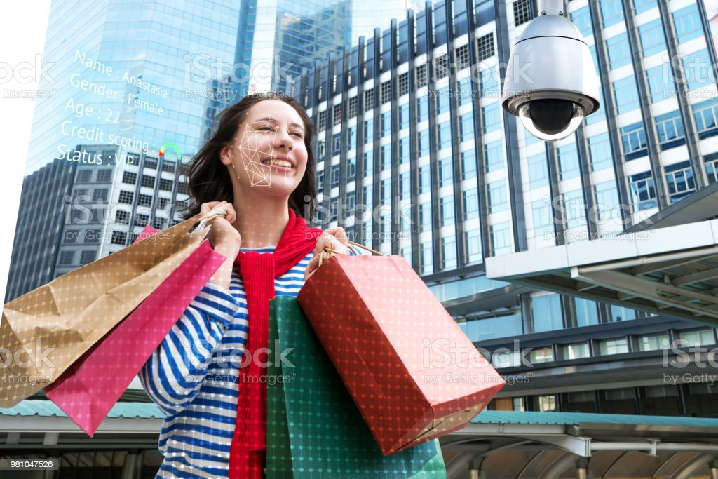 Machine Learning analytics identify person technology , Artificial intelligence concept. Cctv , security camera and biometric technology analytics behavior and face recognition people in smart city. stock photo