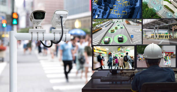 Machine Learning analytics identify person technology in smart city , Artificial intelligence ,Big data , iot concept. Engineer monitoring cctv , security camera and face recognition people  traffic. stock photo