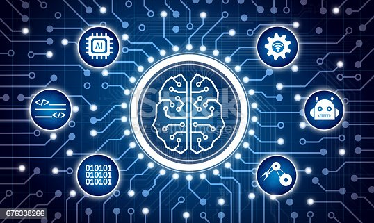 istock Machine learning and artificial intelligence concept. Electric circuit graphic and info graphic of Brain chip sets , command , binary coded , robotic arm icons. 676338266