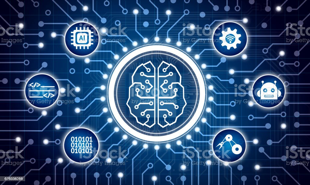 Machine learning and artificial intelligence concept. Electric circuit graphic and info graphic of Brain chip sets , command , binary coded , robotic arm icons. stock photo