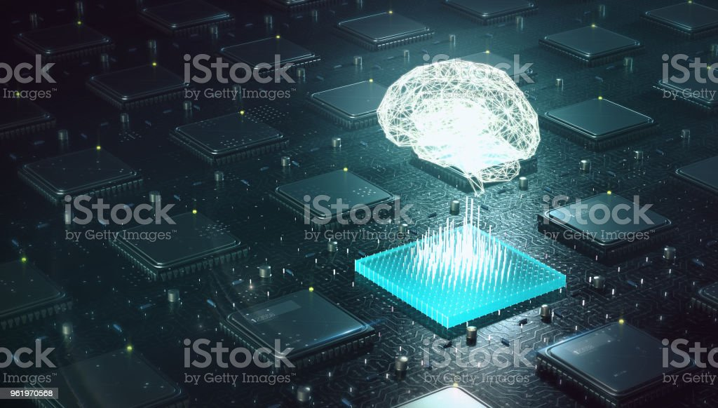 Machine learning , artificial intelligence , ai, deep learning blockchain neural network concept. Brain made with shining wireframe above multiple blockchain cpu on circuit board 3d render. Machine learning , artificial intelligence, ai, deep learning blockchain neural network concept. Brain made with shining wireframe above multiple blockchain cpu on circuit board 3d render. Artificial Stock Photo