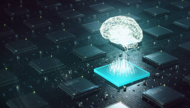 machine learning , artificial intelligence , ai, deep learning blockchain neural network concept. brain made with shining wireframe above multiple blockchain cpu on circuit board 3d render. - ai стоковые фото и изображения