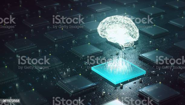 Machine Learning Artificial Intelligence Ai Deep Learning Blockchain Neural Network Concept Brain Made With Shining Wireframe Above Multiple Blockchain Cpu On Circuit Board 3d Render Stock Photo - Download Image Now