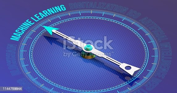 istock Machine Learning Compass Concept 3D Rendering 1144759944