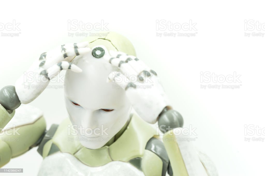 machine learning concept of robot thinking headache  on white background - can use to display or montage on product stock photo