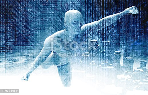 istock Machine learning , Deep learning and artificial intelligence concept. 3D rendering of Robot hero ai , Electric circuit graphic , building and matrix binary coded background. Blue tone 675938098