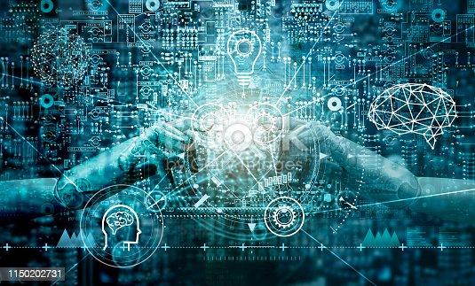istock Machine learning. Hand of robots touching on binary data. Futuristic Artificial intelligence (AI). Big data visualization. Brain representing . Cyber mind aesthetic, Business Internet Technology. 1150202731