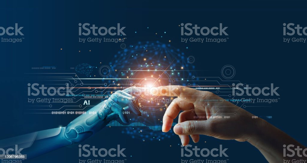 AI, Machine learning, Hands of robot and human touching on big data network connection background, Science and artificial intelligence technology, innovation and futuristic. AI, Machine learning, Hands of robot and human touching on big data network connection background, Science and artificial intelligence technology, innovation and futuristic. Abstract Stock Photo