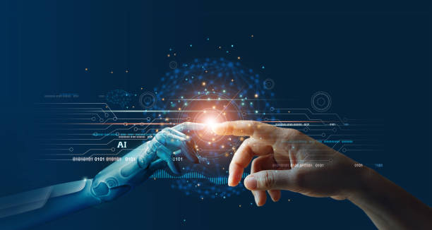 ia, machine learning, hands of robot y human touching on big data network connection background, science and artificial intelligence technology, innovation and futuristic. - robot fotografías e imágenes de stock