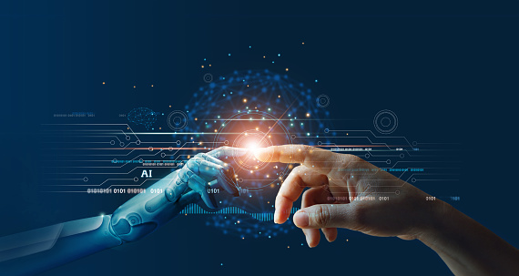 Ai Machine Learning Hands Of Robot And Human Touching On Big Data Network Connection Background Science And Artificial Intelligence Technology Innovation And Futuristic Stock Photo - Download Image Now