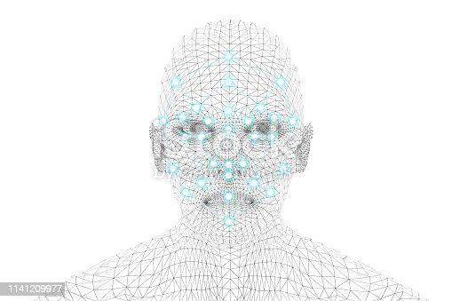 istock Machine learning systems technology , accurate facial recognition biometric technology and artificial intelligence concept. 3d Rendering of man face and dots connect on face. 1141209977