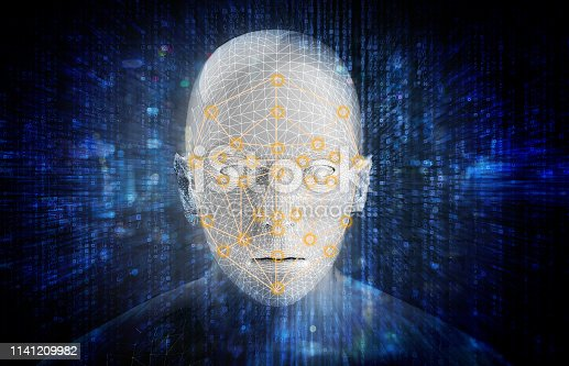istock Machine learning systems technology , accurate facial recognition biometric technology and artificial intelligence concept. 3d Rendering of man face and dots connect on face. 1141209982