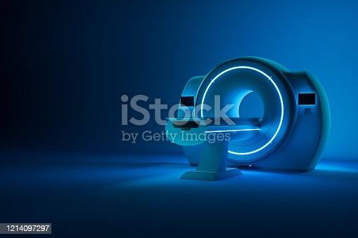 MRI machine, magnetic resonance imaging machine on a dark blue background. Concept medicine, technology, future. 3D rendering, 3D illustration, copy space