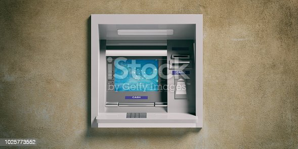 istock ATM machine on a plastered wall. 3d illustration 1025773552