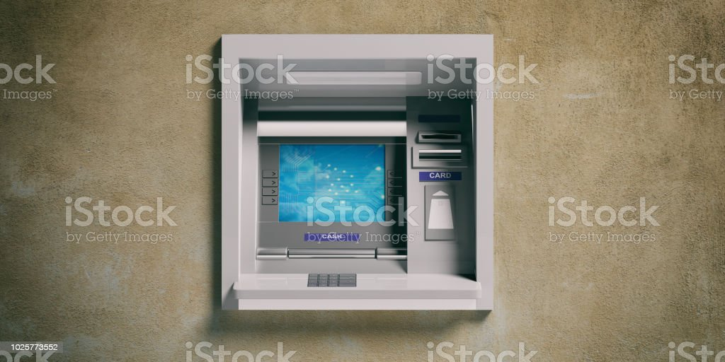 ATM machine on a plastered wall. 3d illustration stock photo