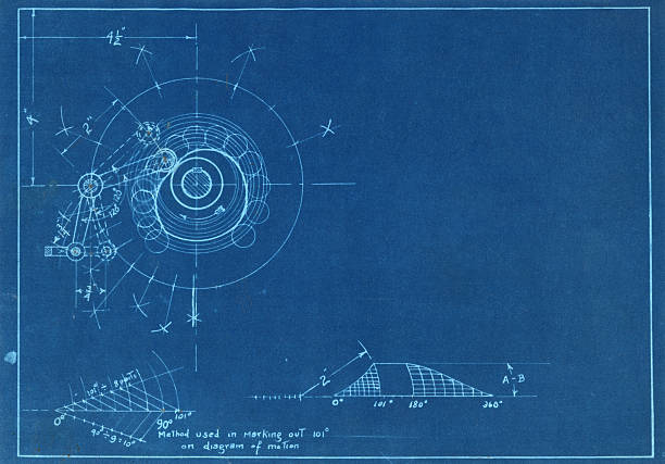 Machine parts Vintage blueprint showing machine part detail, made more generic with space for copy blueprint stock pictures, royalty-free photos & images